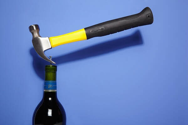 Open your wine bottle with a simple hammer