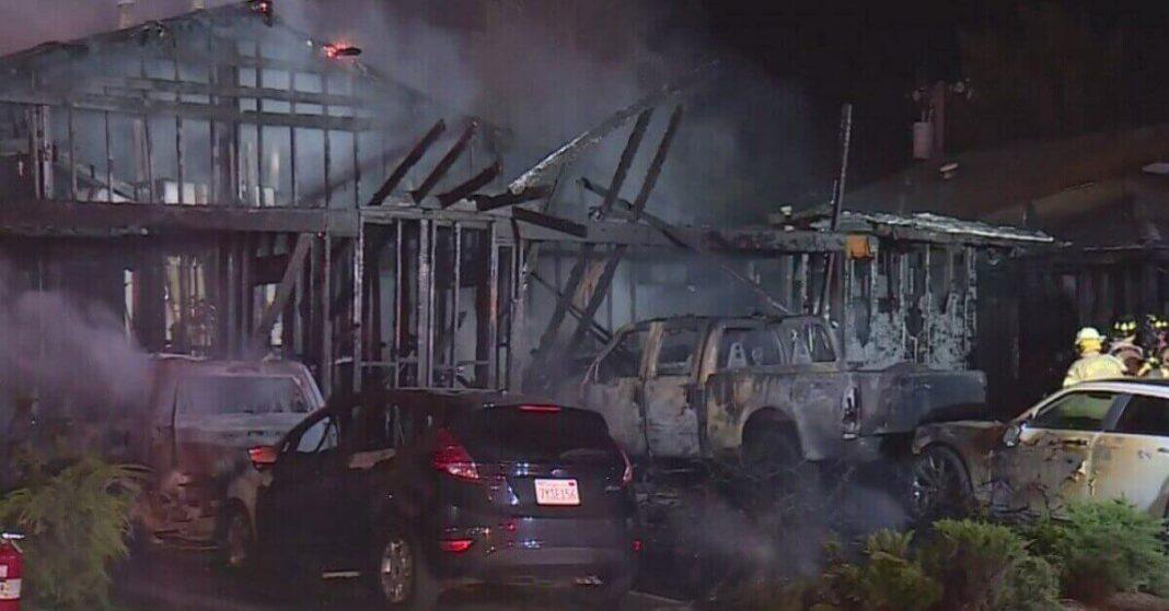 two-alarm fire destroys duplexes in carmichaels