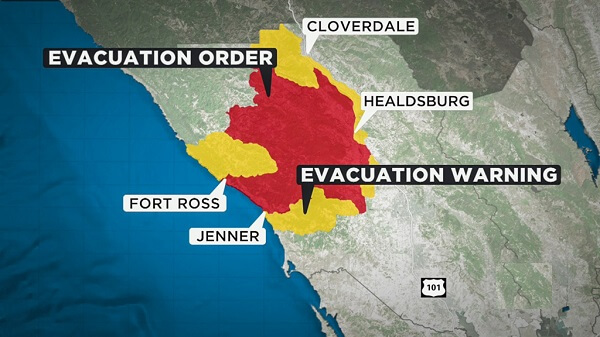 Walbridge fire area in Sonoma County, evacuation orders issued