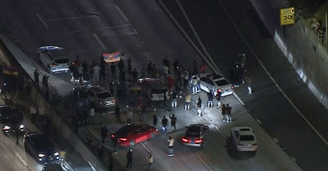 Traffic Blocked on 101 of Hollywood due to Protests Supporting Armenia