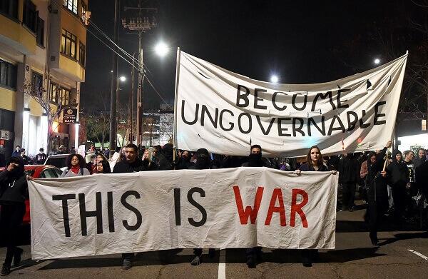 Antifa Protesters Chanting in Denver