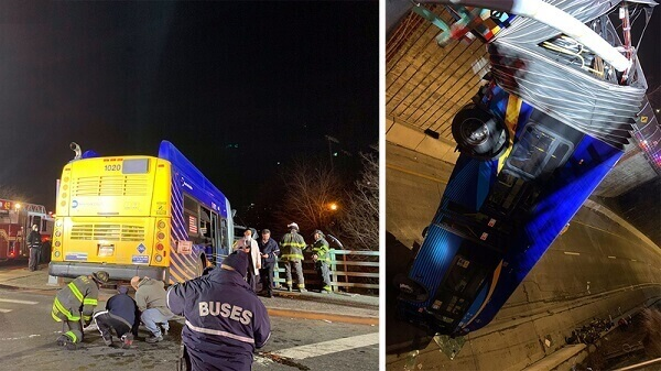 Bus Plunges off Bronx Bridge Passengers Hurt, Driver Seriously Injured