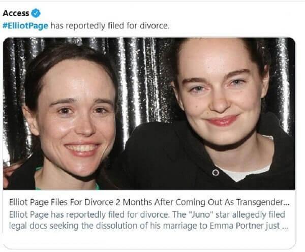 Elliot Page files for divorce