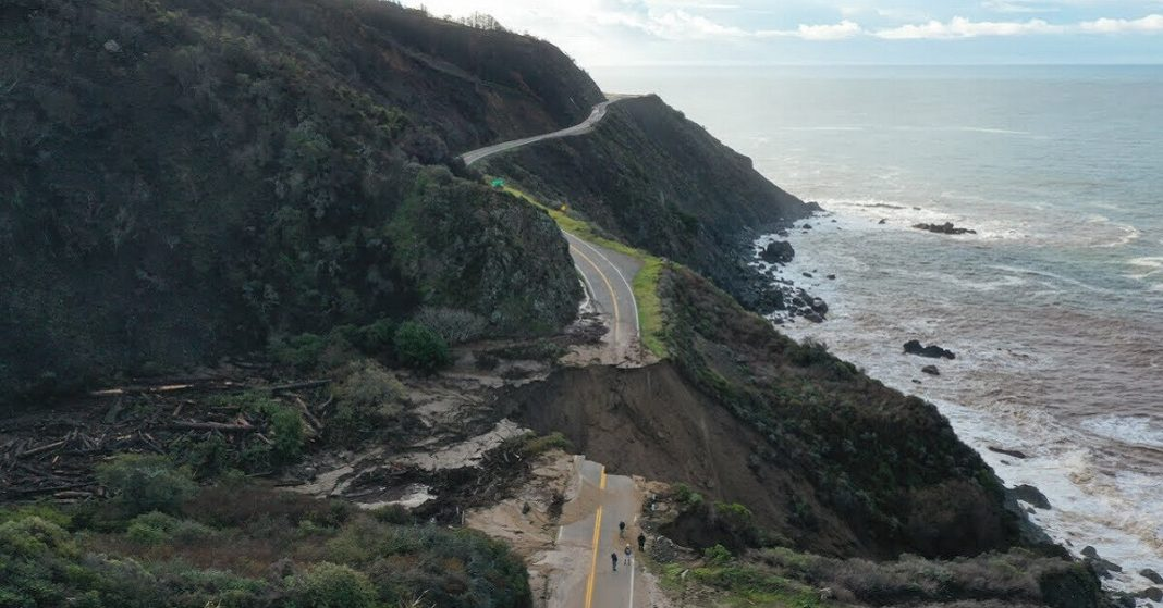 Section of Highway 1 crumbles into the Pacific Ocean during a recent storm