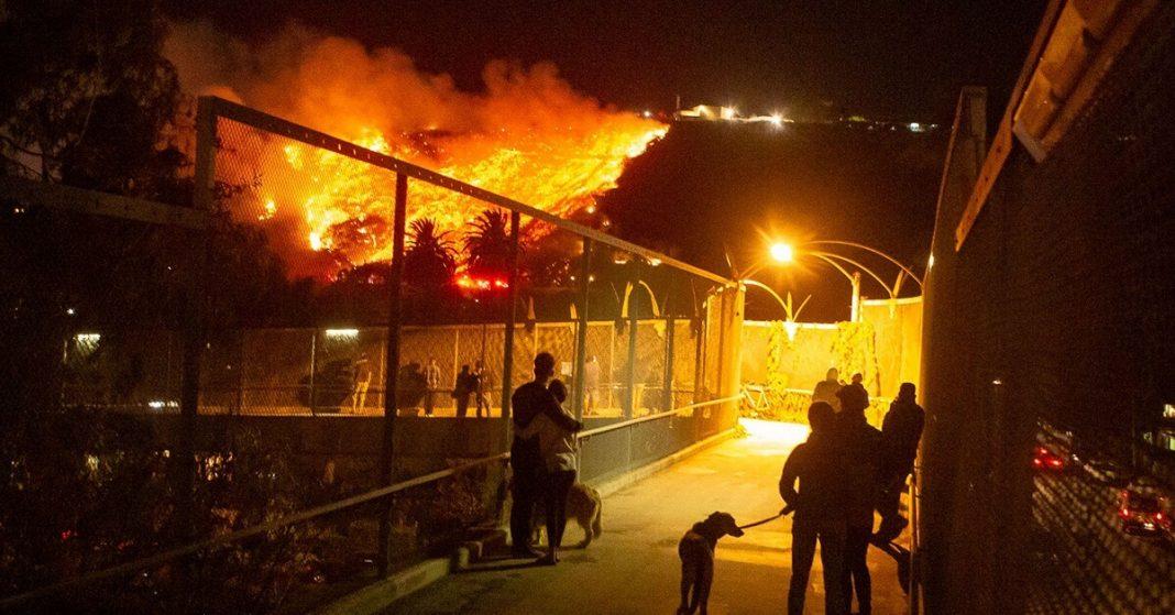 Firefighters battle blazing Santa Barbara fire as it threatens to burn TV hill