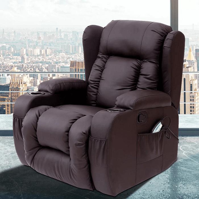 Reclining heated massage chair