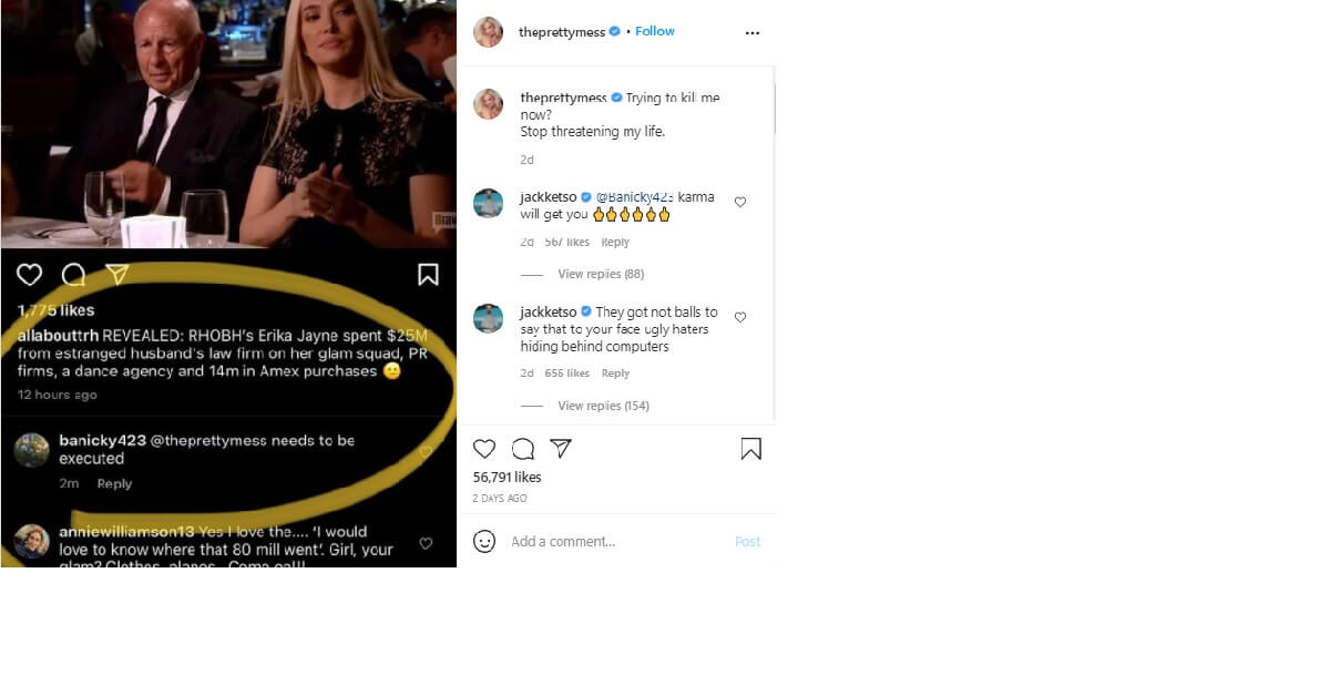 Star Erica Jayne death threats