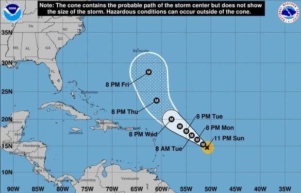 Hurricane Sam rages over the open Atlantic