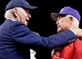 Biden made a surprise visit to the Congressional Baseball game